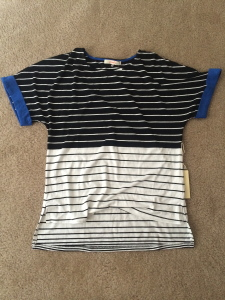 Stitch Fix Pomelo Vera Colorblocked & Stripe Hi-Lo Shirt